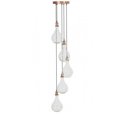 Hanglamp 5L Ø30x190 cm QUIRINA glas antiek koper - Light & Living
