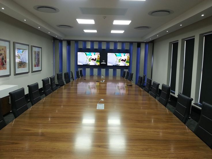 Boardroom Installation with PTN Signal Distrubution, Sony Video Conferencing, Crestron Control System and Samsung Monitors