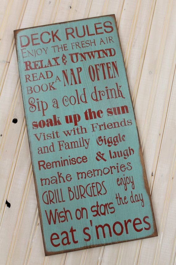 Custom rustic Porch backyard Deck Patio Rules by Wildoaks on Etsy, $48.00