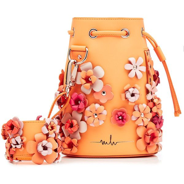 Marina Hoermanseder Embellished Leather Drawstring Bag ($729) ❤ liked on Polyvore featuring bags, handbags, tote bags, purses, accessories, borse, orange, leather hand bags, leather handbags and leather shoulder handbags