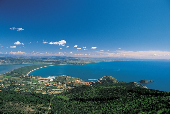 A panoramic view of Porto Ercole and the Tombolo of Feniglia in Silver Coast, Maremma, Tuscany, Italy