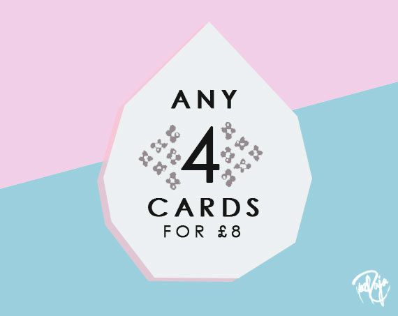 Pick n Mix Any 4 Greeting Cards #pickandmix #mothersday #valentinesday #blankcards #birthdaycards #initialcards #customcards #handmadeinuk