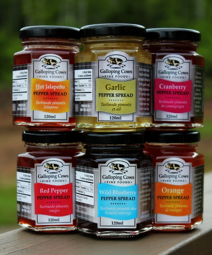 Available at the Designer Craft Shop: 1061 Marginal Rd. Halifax, Nova Scotia. Behind the Rail Car.   Pepper Spreads by Galloping Cows  Avail. in Hot Jalapeño, Garlic, Cranberry, Red, Wild Blueberry, and Orange