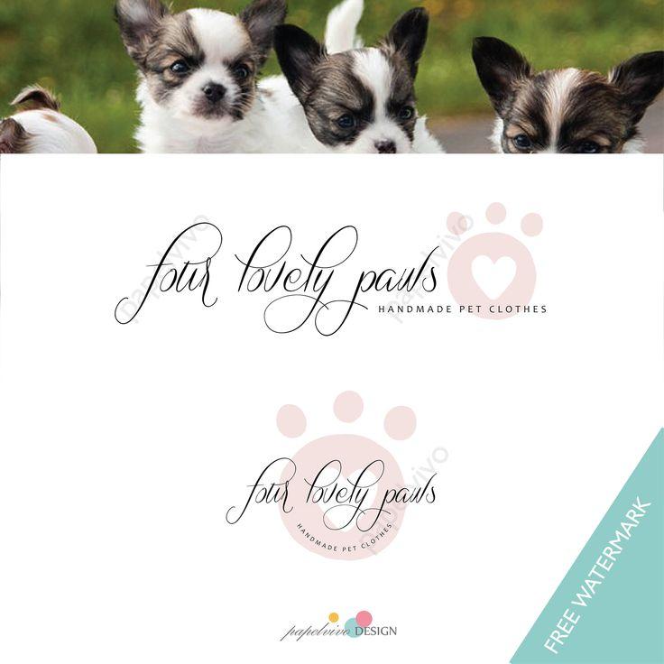 Logo prediseñado / set 2 logos /  Logo perro / Logo fotografo mascotas / Logo tienda ropa perros / Logo huella perro- P5 by papelvivodesign on Etsy