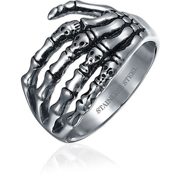 Stainless Gothic Biker Mens Skeleton Hand Skull Ring ($15) ❤ liked on Polyvore featuring men's fashion, men's jewelry, men's rings, rings, grey, theme jewelry, mens rings, mens watches jewelry, mens stainless steel skull rings and mens skull rings