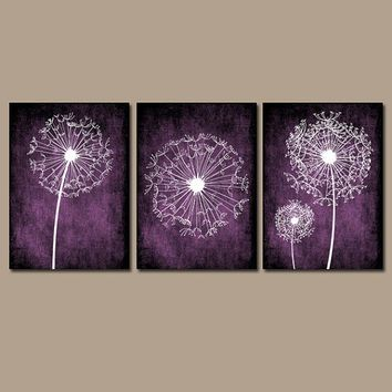 DANDELION Wall Art Purple Bedroom Canvas Or Prints Bathroom Wall Art  Bedroom Pictures Flower Wall Art