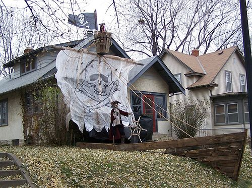 fantastic ship built into slope - Pirate Halloween Decorations