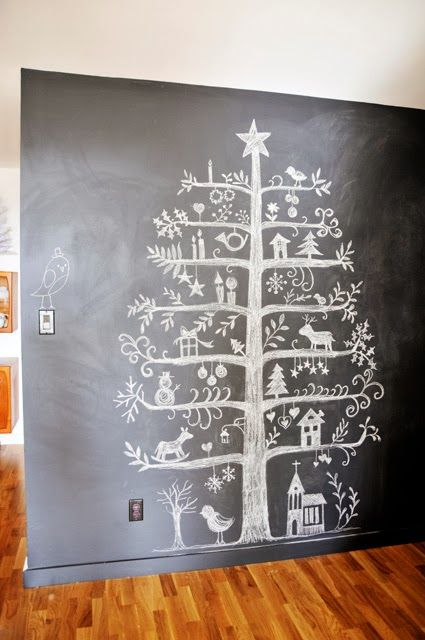 Christmas countdown chalkboard: Have the kids draw one ornament a day on the tree until Chrismas morning