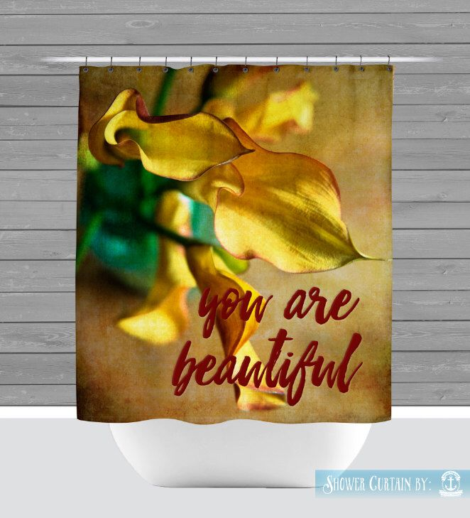 Floral Shower Curtain: You Are Beautiful Calla Lily Yellow Bathroom Decor | Made in the USA | 12 Hole Fabric Shower Curtain by BrandiFitzgerald on Etsy https://www.etsy.com/listing/271269428/floral-shower-curtain-you-are-beautiful