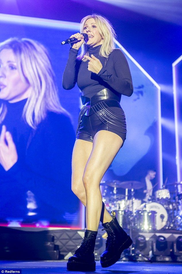 Leggy display: Ellie Goulding showcased her sculpted legs in her favourite stage costume as her Delirium tour wound up at the Sant Jordi Club in Barcelona, Spain
