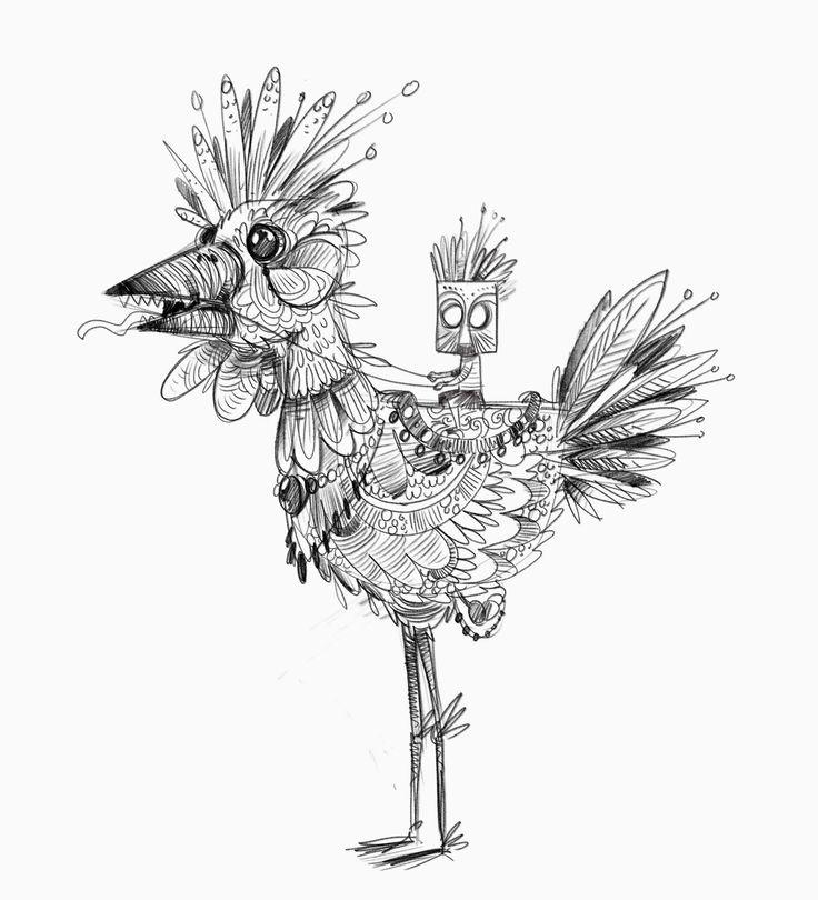 """""""big bird"""" #sketch #steampunk #iblackandwhite #illustration #chicken #classsic"""