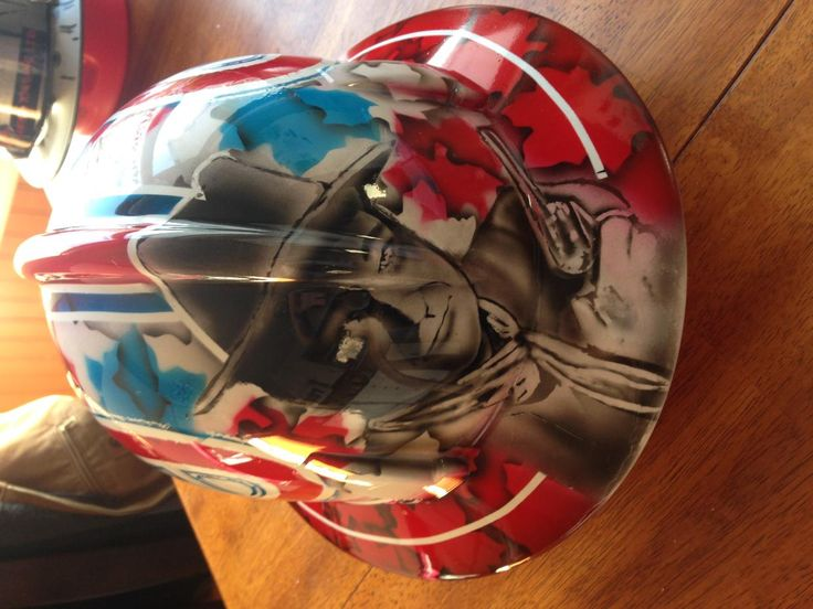 A custom ordered hard hat, inspired by the goalie mask of Carey Price!