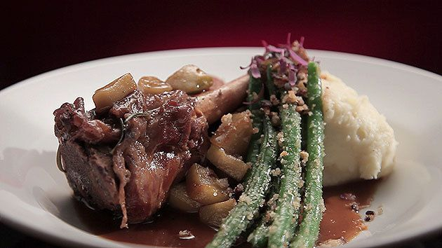 MKR4 Recipe - Braised Veal Shanks with Apple Sauce and Mashed Potato and Pepper Bone Marrow and Beetroot (Dan & Steph)