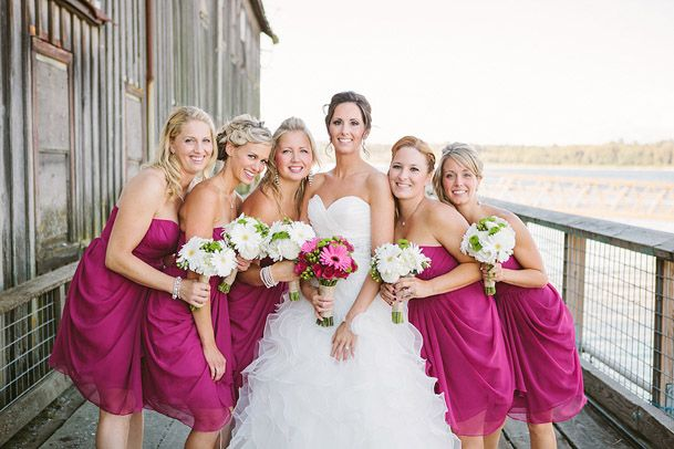 Fushia bridesmaid dresses white green bouquets
