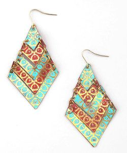 Turquoise & Coral Chevron Drop Earrings | zulily