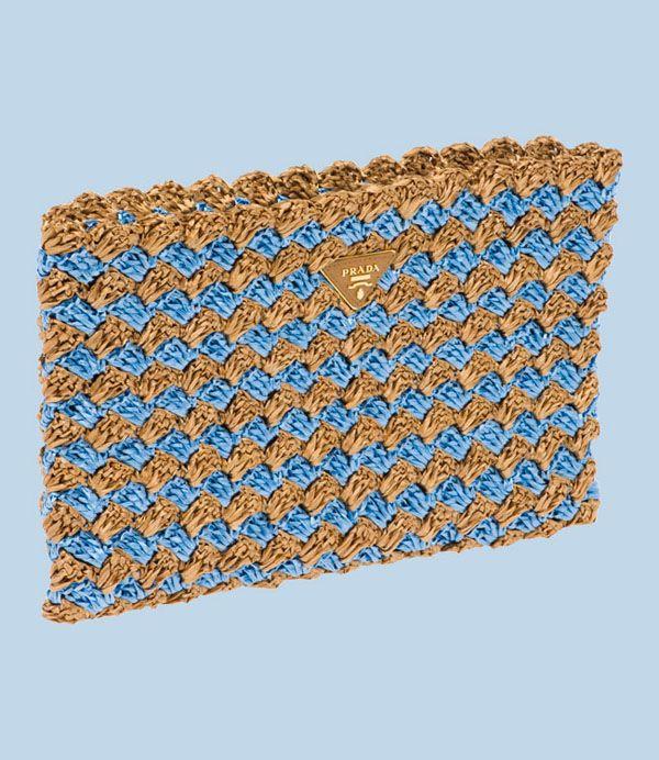 Raffia crochet clutch by Prada