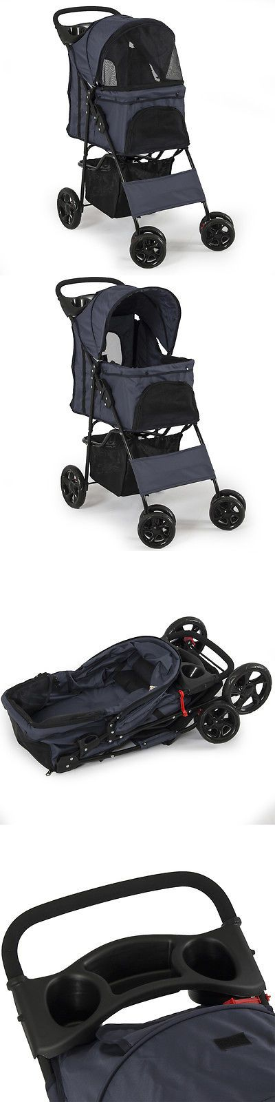 Carriers and Crates 116362: Dark Blue Folding 4 Wheels Pet Dog Cat Stroller With Cover Carrier Cart Outdoor BUY IT NOW ONLY: $39.99