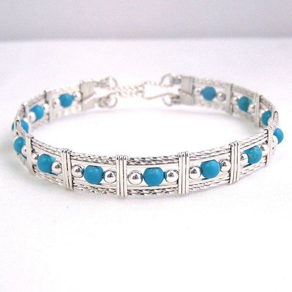 Blue Skies turquoise and sterling silver wire by dreamstardesigns, $52.00 – Crafts for people