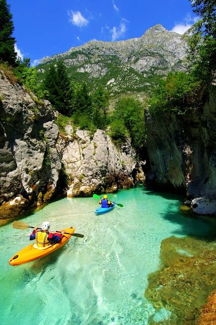 Kayaking on Soca River, Slovenia  Try kayaking at Baina beach,Goa,India http://www.thrillophilia.com/tours/kayaking-at-baina-beach-goa