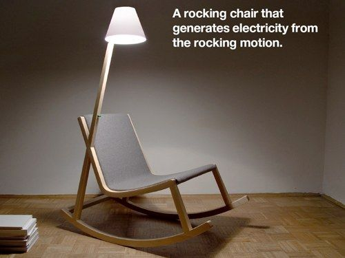 A rocking chair that generates electricity from the rocking motion + your light follows you :)