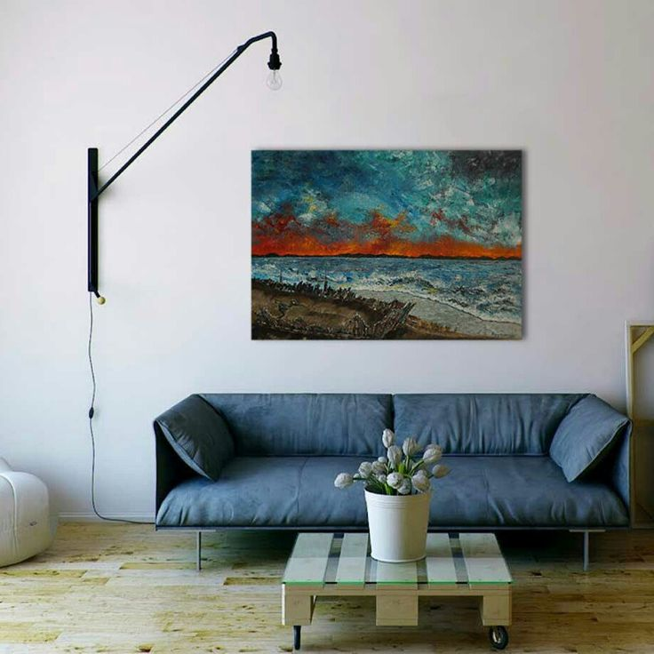 Sunset or flames... the horizon never disappoints ! From afar-Palette knife original fine art deep edges oil painting. Size 70x50cm