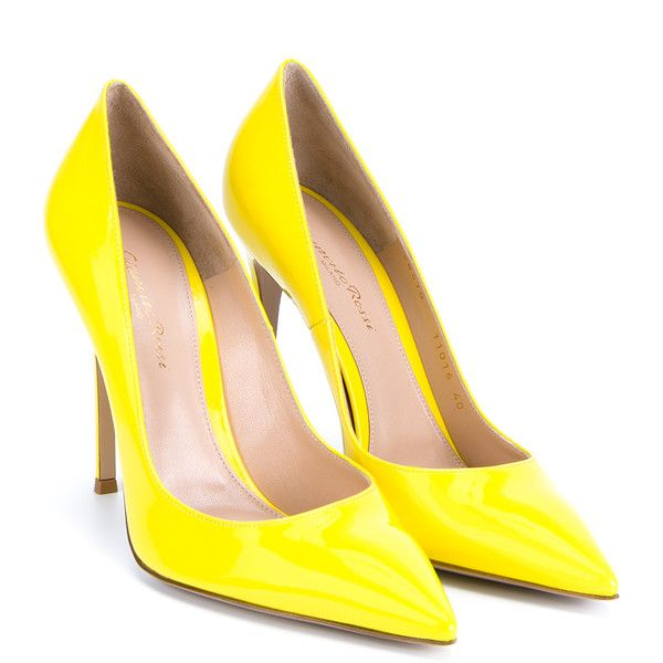 Gianvito Rossi Patent Point-Toe Pumps (760 CAD) ❤ liked on Polyvore featuring shoes, pumps, heels, gianvito rossi, high heels, yellow, pointed-toe pumps, stiletto heel pumps, stiletto pumps and yellow patent leather pumps