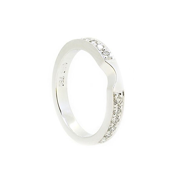 White Gold And Diamond Handmade Ladies Fitted Wedding Ring 12 X Round Brilliant Cut Diamonds In Bead Setting Wide Band Deep With