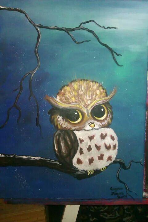 Blue owl acrylic painting