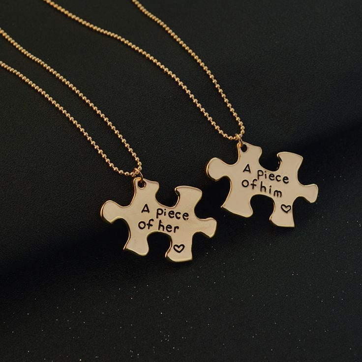 """""""A piece of her, A piece of him"""" Puzzle Couple Necklace Gold #necklaces #necklace #couplenecklace #goldnecklace #silvernecklace #compassnecklaces"""