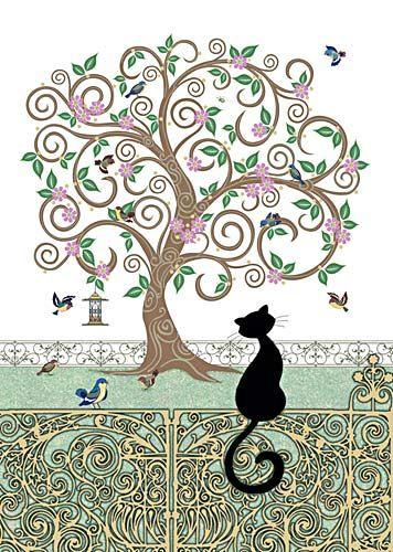 Black Cat Birdy Tree Card (Blank)