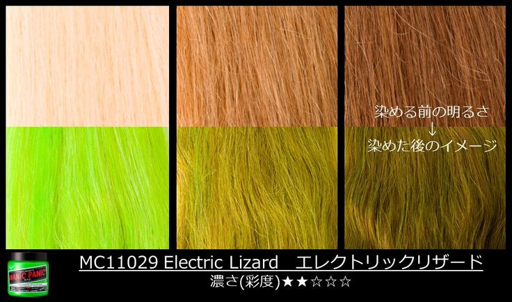 #ElectricLizard is a light #tint, so be sure to lift to a level 10 #blonde for the brightest results! See here how the color will come out on darker shades of blonde. #ManicPanic #ManicPanicJapan #Greenhair