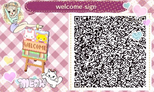 Animal crossing Welcome sign qr code acnl
