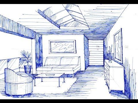 Como dibujar  en perspectiva  un espacio con 1 punto de fuga - YouTube