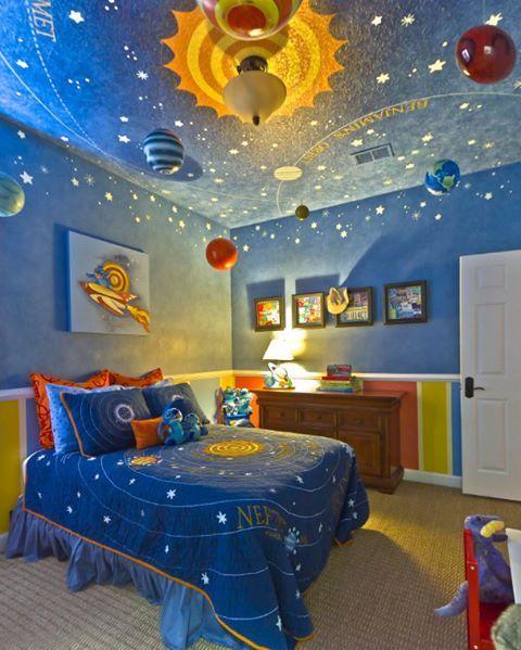 Astronot olacak çocuk böyle bir odada yetiştirilir. Şaka bir yana sizce de harika bir çocuk odası dekorasyonu değil mi?  #dekorasyon #yatakodası