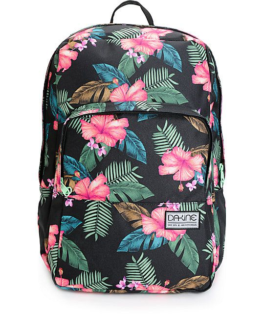 Sustainability, style and function are fused in this mid-size backpack made with a 100% recycled bottle construction and an allover tropical floral print.