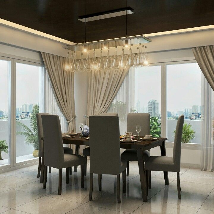 Minimalist Chandelier For A Modern Dining Set Up