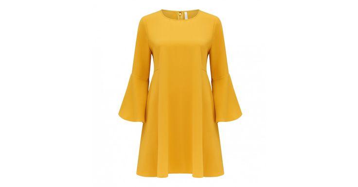 Georgia Geniş Kollu Sarı Elbise