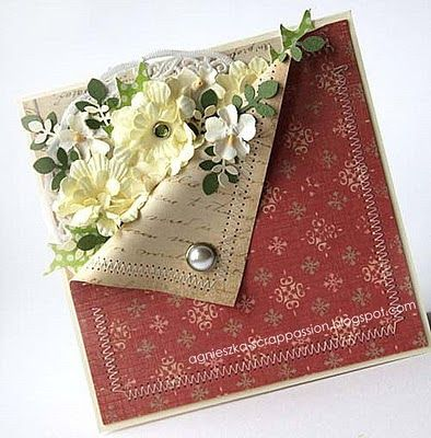prettyInteresting Cards, Cards Ideas Techniques, Interesting Folding, Handmade Cards, Cards Folding, Pretty Flower, Flower Cards, Folding Paper Flower, Fun Folding Cards