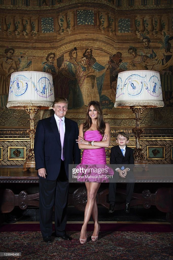 Donald Trump, Melania Trump and Barron Trump pose during a photo shoot at the Mar-a-Lago Club on March 26, 2011 in Palm Beach, Florida. Melania's clothes by Chanel, makeup by Tina Turnbow for RayBrownPro.com, hair by Mordechai for Yarokhair.com, Barron's clothes by bonpoint.