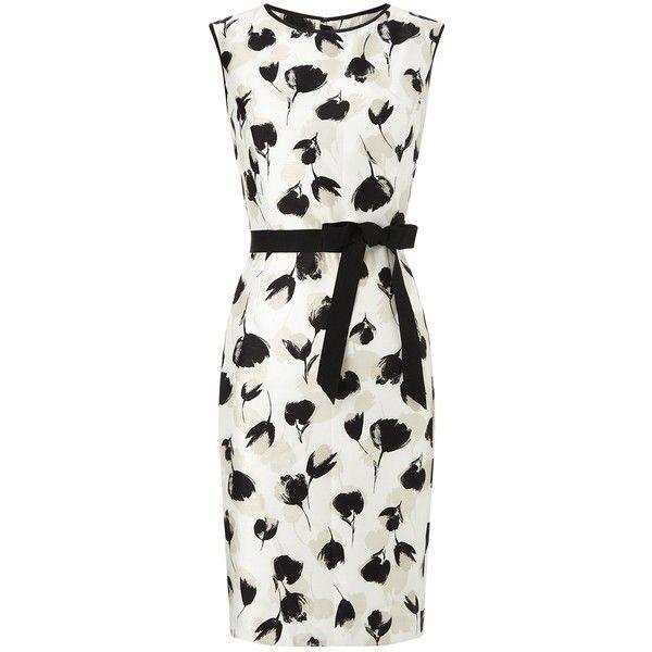 Precis Petite Shantung Tulip Dress, Cream/Multi (€170) ❤ liked on Polyvore featuring dresses, petite, white maxi dress, white dress, white mini dress, evening dresses and shift dress