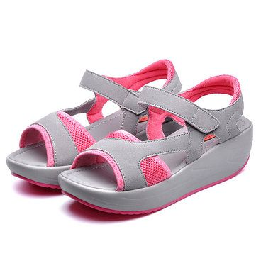 Women Casual Wedge Sandals Breathable Rocker Sole Shoes - US$26.98