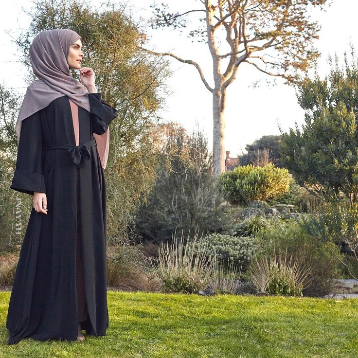 INAYAH | Contemporary fashion for the modest woman. Black Open Front Abaya Iced Coffee Textured Slip Dress Ash Soft Crepe Hijab - SALE www.inayah.co