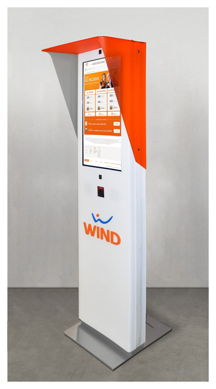 """""""Explora Totem"""" single side 32"""", touch screen, with bar code/QR code reader and double web cam customized for Wind."""
