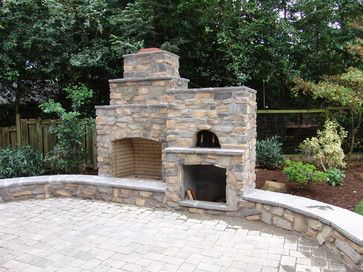 Outdoor Fireplace with Pizza Oven - traditional - patio - portland - Brown Bros. Masonry