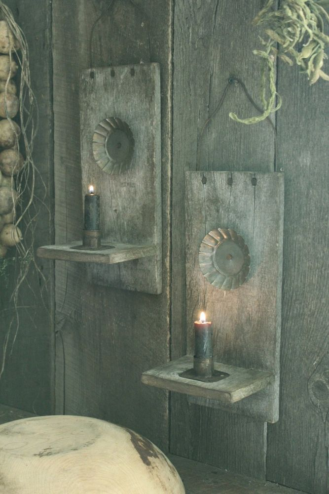 Primitive Early Look Wooden Reflector Candle Holder Sconces w/Candle Stubs