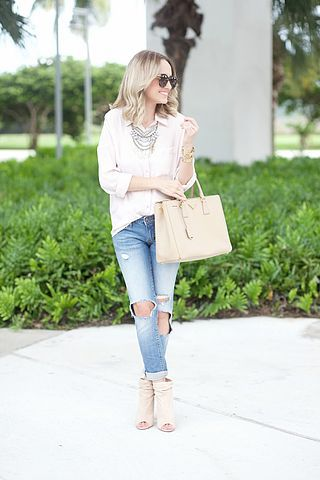 The necklace is great. Would love a new white button down. Have open toe tan booties already that I adore. Do not own any boyfriend jeans.