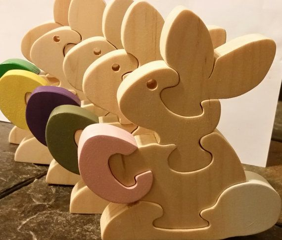 Easter Toys Easter Bunny  Handmade Wooden Kids Toys by Ntoys #Easter #EasterBasketGift Easter Basket Puzzle #Puzzle $14.99