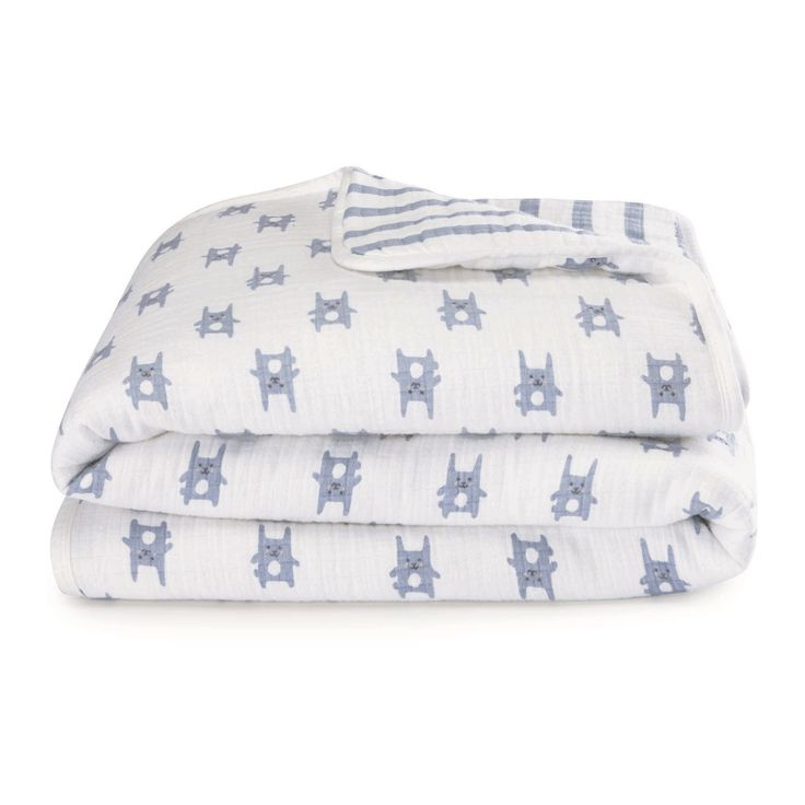 Aden by Aden + Anais Flannel Muslin Blanket - Funny Bunny - Blue Stripes
