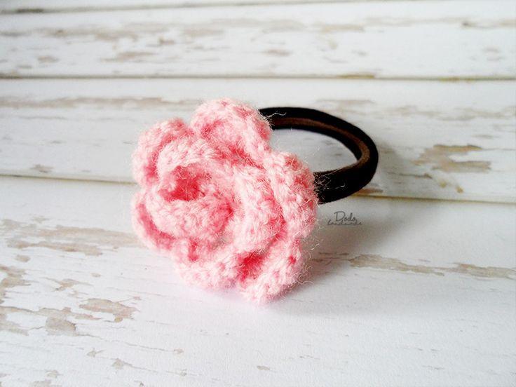 Gumka do włosów z różą - DodoHandmade - Gumki do włosów