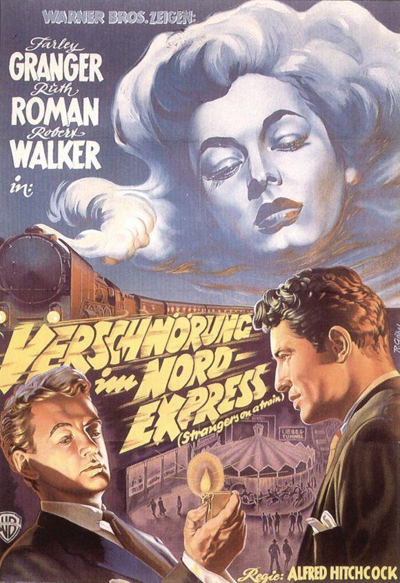 STRANGERS ON A TRAIN (1951) - Farley Granger - Ruth Roman - Robert Walker - Directed by Alfred Hitchcock - Warner Bros. - German movie poster.